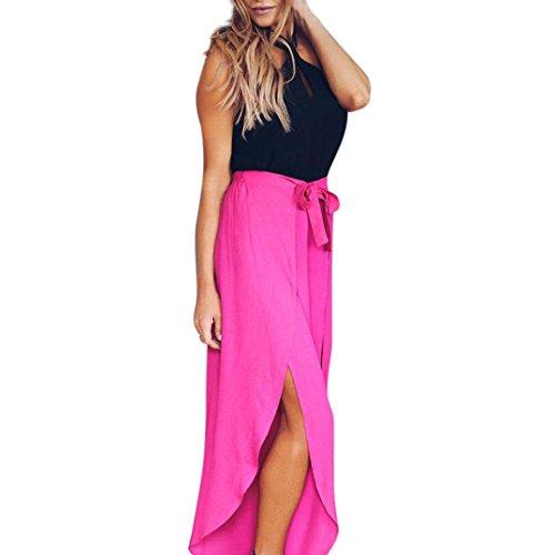 Pantalons Femmes, Toamen Pantalon mi-mollet taille haute Pantalons décontractés lâches Mousseline de soie Élastique Couleur pure En vrac Longue (XL, rouge)
