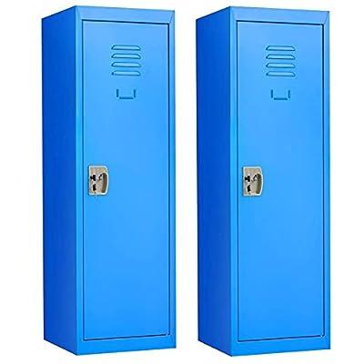HONEY JOY 48 Inch Kids Locker, Toddler Metal Locker Storage Cabinet for Toys Clothes Sports Equipment, Kids Locker Organizer w/2 Keys and Door, Safe Coat Locker for Bedroom Garage Gym Entryway(Blue,2) by HONEY JOY