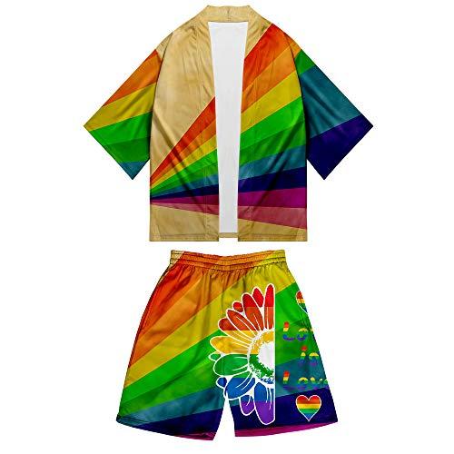 APHT Unisex Love is Love LGBT Gay Lesbian Pride Crop Top Camisetas y Pantalones Manga Corta Top Chándal tee Shirt Shorts