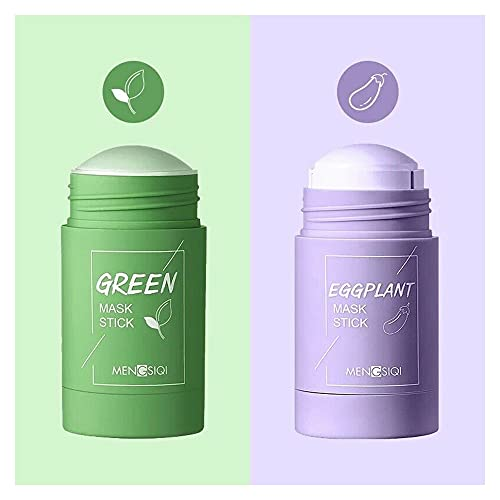 TAIYANYU 2PCS Green Tea/Aubergine Purifying Clay Stick Mask- Anti Acne Deep Cleansing Oil Control Beauty-for Improves The Skin (Green Tea/Eggplant)