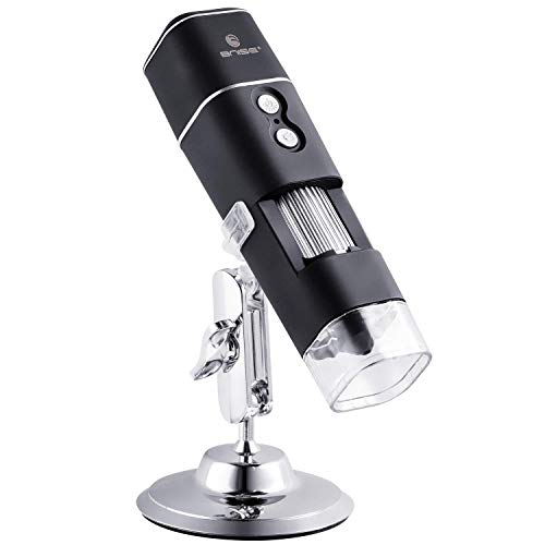 WiFi USB Digital Microscope, 50X to 1000X Mini Microscope Camera with Metal Stand and 8 LED Lights, Compatible with Android, iPhone, Windows and Mac