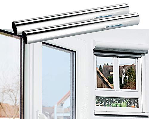 infactory Spiegelfolie Wand: 2er-Set Isolier-Spiegelfolie, Sicht-/UV-Schutz, selbstklebend,40x200cm (Fenster Spiegelfolie)