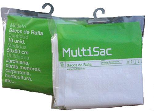 MULTISAC 1451. 10 Sacos de Rafia 50x80 cm con 10 bridas para cierre.