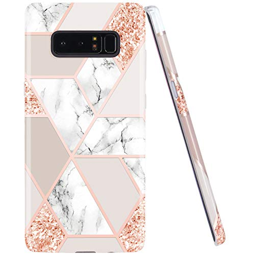 JIAXIUFEN Sparkle Glitter Shiny Rose Gold Metallic Marble Design Clear Bumper TPU Soft Rubber Silicone Cover Phone Case for Samsung Galaxy Note 8