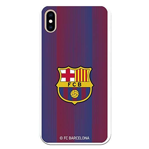 Funda para iPhone XS MAX Oficial del FC Barcelona - Escudo Franjas para Proteger tu móvil. Carcasa para iPhone de Silicona Flexible con Licencia Oficial de FC Barcelona