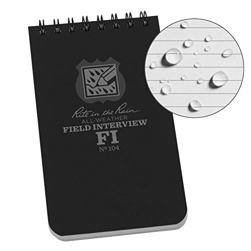 """Rite In The Rain Weatherproof Field Interview Notebook, 3"""" x 5"""", Black Cover, Field Interview Form Pages (No. 104)"""