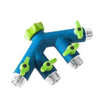 GREEN MOUNT Garden Hose Connector Tap Splitter Easy Grip Splitter with Shut-Off Valves  4 Way