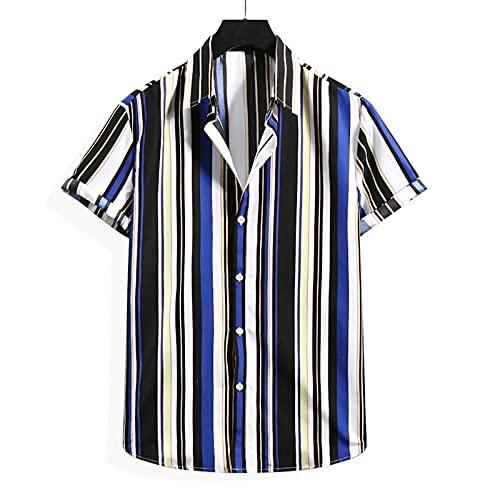 KANGYONG Camisa hawaiana informal para hombre, con estampado floral, manga corta, cuello vuelto, botones ajustados, cuello en V A_azul. S