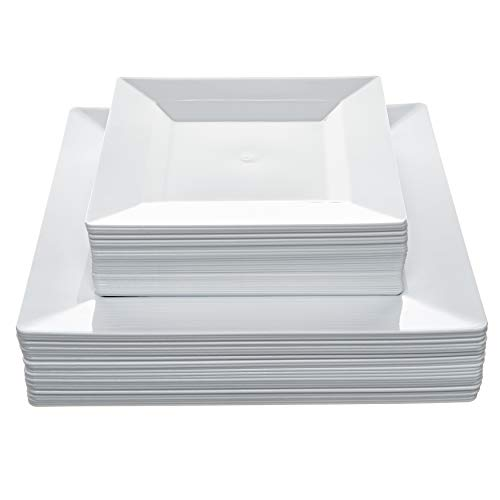 Disposable Square Plastic Plates - 60 Pack - 30 x 9.5' Dinner and 30 x 6.5' Salad Combo - Premium Heavy Duty- By Aya's Cutlery Kingdom