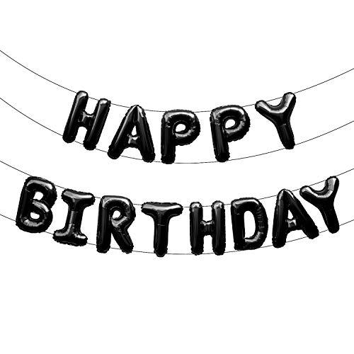 Oblique Unique® Happy Birthday Folienballon Girlande Banner in Schwarz als Geburtstag Party Deko mit 13 Folien Luftballons Schnur und Strohhalm zum Aufblasen