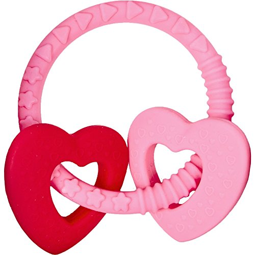 Beißring Baby Glück, rosa (mit 2 Herzen)