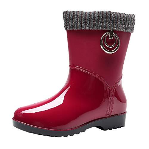 Huhu833 Damen Gummistiefel Regenstiefel Basic Schlupfstiefel mit Gefüttert Protective Footwear Rain Boot Stiefeletten Outdoor Boots Gartenschuhe Gummistiefeletten (rot, 37 EU)