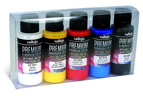 Juego de pinturas premium para aerógrafo, 5 colores