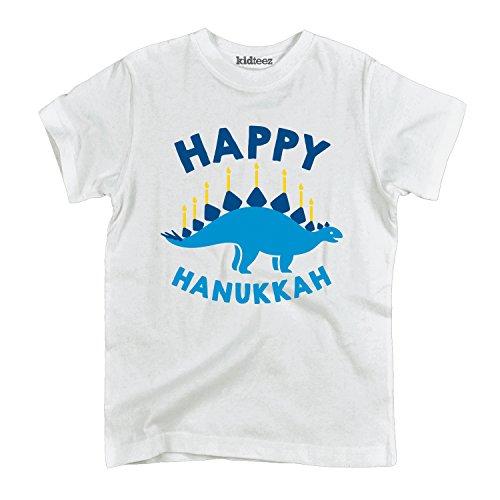 Instant Message Happy Hanukkah Dinosaur - Toddler Short Sleeve T-Shirt White