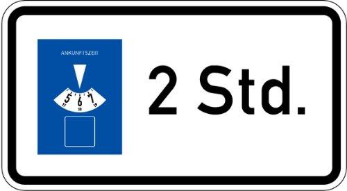 LEMAX® Schild Alu Parkscheibe 2 Std. Verkehrszeichen 1040/32 330x600mm reflektierend