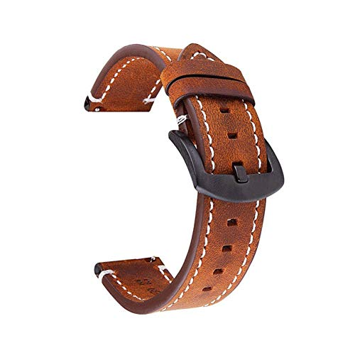 DALIANMAO Watchands 18mm 20mm 22mm Retro Reloj de Reloj de Reloj de Reloj de Cuero con Correas de Cuero Genuino (Band Color : Brown, Band Width : 22mm)