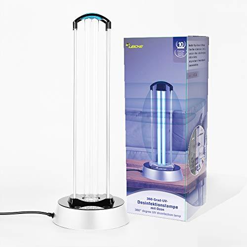 LEICKE Lámpara de desinfección UV | Esterilizador de lámpara UV | UV Esterilizador | Lámpara germicida con sensor de radar generador de ozono | Mata el 99,9% de las bacterias del virus del moho