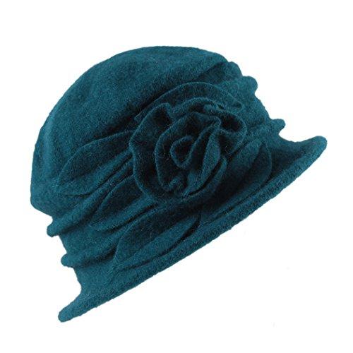 West See Damen Vintage Wolle Cloche Bucket Hut Beret Topfhut mit Blumendetail Wintermütze (blau)