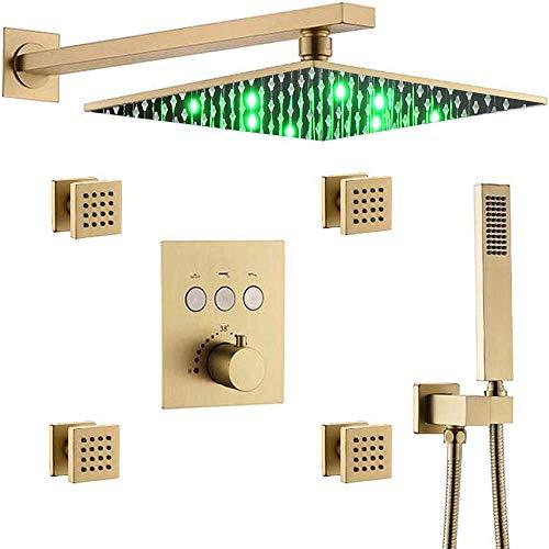 AYIVG Sistema de ducha termostático de oro cepillado de 12 pulgadas LED lluvia cabezal de ducha con 4 piezas de rociadores para el cuerpo conjunto de mezclador de ducha