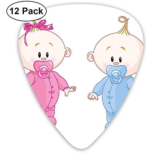Plektren 12-Pack, fröhliche Jungen und Mädchen mit Bunny Schnuller Zwillinge