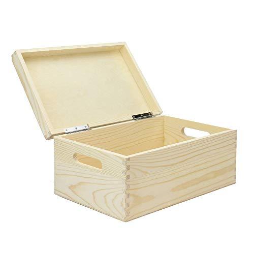 Caja de almacenamiento de madera   Almacenamiento de cocina   Caja de recuerdo   Cofre de madera con tapa   Juguetes, objetos de valor, caja de memoria   Pukkr