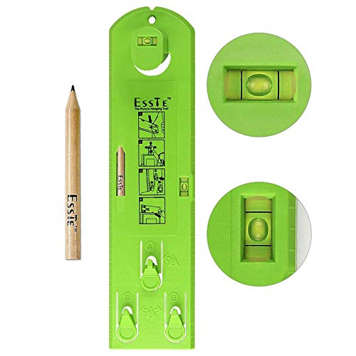 Picture Hanger Hanging Tool, YouMiYa Easy Frame Tool for Marking Position and Measuring The Suspension and Horizontal Wall of The Roof,Perfect to Hang Pictures, Mirrors and Clocks(Green Ruler+Pencil)