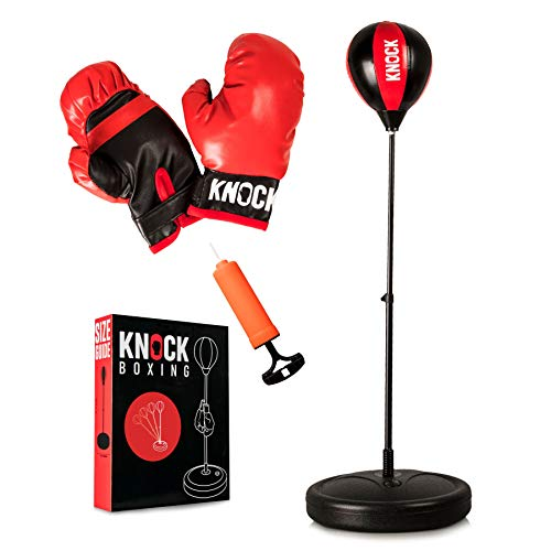 Punching Bag Set for Kids – Home Gym – Youth Workout Equipment – Complete Boxing Set Includes Gloves & Small Pump – Free Standing Bag with Adjustable Height – Great Gift Idea for Boys or Girls