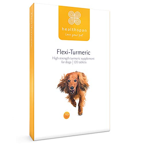 Healthspan Flexi-Turmeric For Dogs 120 Tablets | Vitamin C & Brewers' Yeast | 400mg High-Grade Turmeric | Pet Health