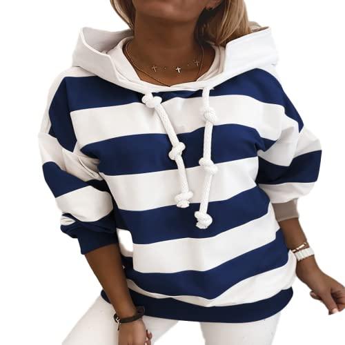 Blusa de suéter con Capucha Informal con Estampado de Rayas de Moda de otoño para Mujer Blusa de Todo fósforo de Manga Larga con Ajuste clásico XL