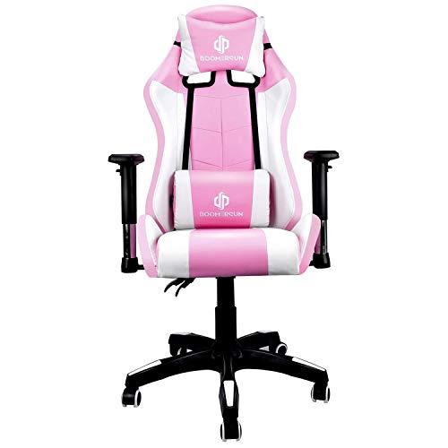 KirinSport - Sedia da gioco ergonomica per gaming, schienale regolabile in altezza, sedia da lavoro, girevole, sedia elettronica con poggiatesta senza LED, colore: Rosa