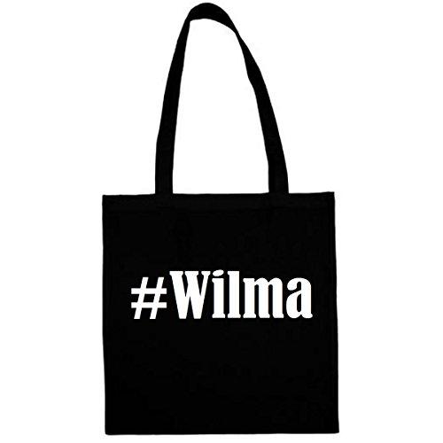 Tasche #Wilma Größe 38x42 Farbe Schwarz Druck Weiss