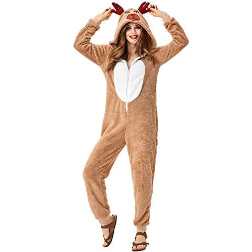 SGSG Bata Pijama de Navidad para Mujer, Albornoces para Mujer Camisones de Alce Lindos con Capucha Bata siamesa Albornoz para Mujer Bata de bao para Mujer Ropa de Dormir Regalos para nias