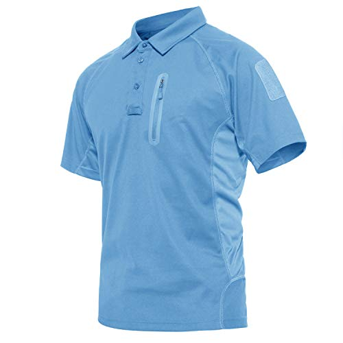 KEFITEVD Kurzarm Poloshirt Herren Sommer Sport Kleidung Dünnes Sweatshirt Wandern Angeln Safari Tshirt Casual Outdoorshirt Jogging Pullover Hellblau 3XL