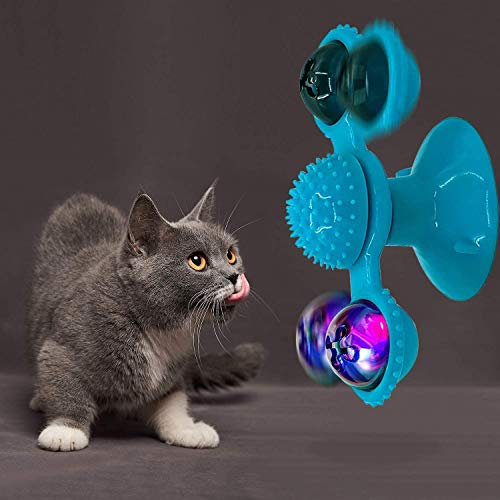 YUTANG Interactive Cat Catnip Toy for Indoor Cats Windmill Catnip Toy Funny Kitten Toys Cat Toothbrush Toy Cats Hair Brush Turntable Massage Scratching Tickle Toy with Suction Cup