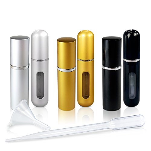 Refillable Glass Perfume and Cologne Fine Mist Atomizers with Metallic Exterior by L'AUTRE PEAU - Portable Travel Size - 3ml Transfer Pipette and Filling Funnel Included - 6 Piece Variety Pack of 5ml