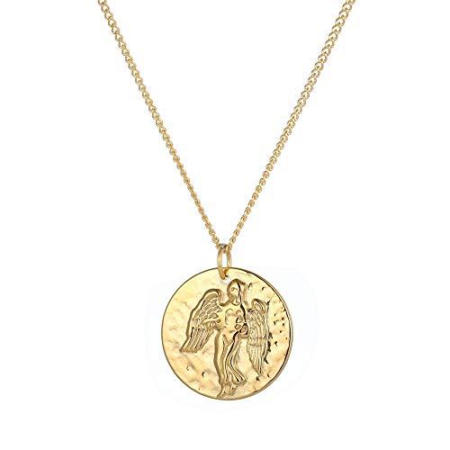 Tribal Spirit Collana da donna con ciondolo a forma di segno zodiacale, in acciaio inox, argento e oro e Acciaio inossidabile, colore: gold, cod. KEMAED1901280032