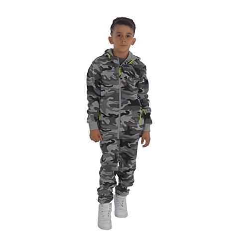 Fashion4Young 11400 Kinder Jogginganzug Freizeitanzug Kapuzenjacke u. Joggpants Camouflage Army-Style Tarnanzug (86, grau-grün)