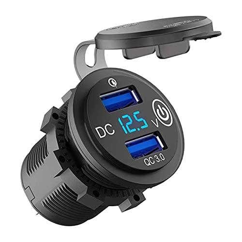MARSPOWER Dual USB Cargador rápido Inteligente para automóvil al Aire Libre Impermeable Carga rápida 3.0 Pantalla Digital LED Detección de Voltaje Pantalla Azul - Negro