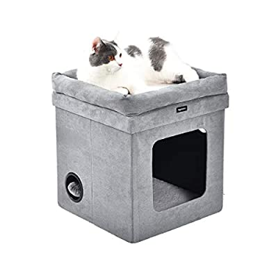 AmazonBasics Collapsible Cube Cat Bed, 15 x 15 x 17 Inches, Grey