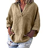 Women Linen Tops,Summer Causal Loose Plus Size Tee Blouse Solid V-Neck T-Shirt Yellow