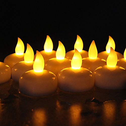 Novelty Place LED Floating Candles, Flameless Tea Lights Warm Yellow Battery Operated - Waterproof Decoration for Wedding, Thanksgiving, Christmas, Birthday Party (24 Packs)