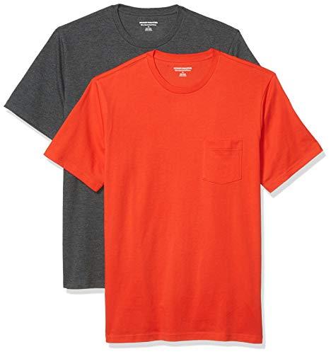 Amazon Essentials Pack de 2 Camisetas Ajustadas con Bolsillo y Cuello Redondo Fashion-t-Shirts, Bright Orange/Charcoal Heather Grey, M