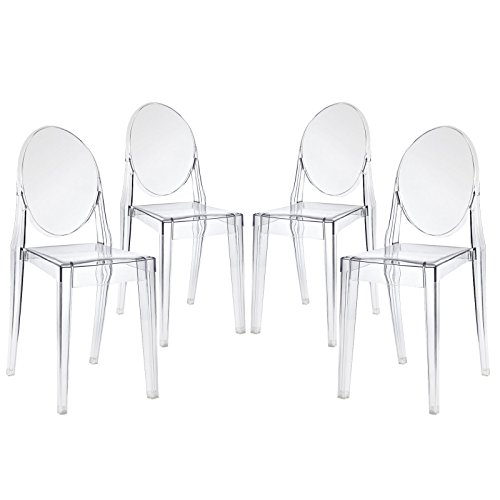 Modway Casper Modern Acrylic Stacking Four Dining Armchairs in Clear