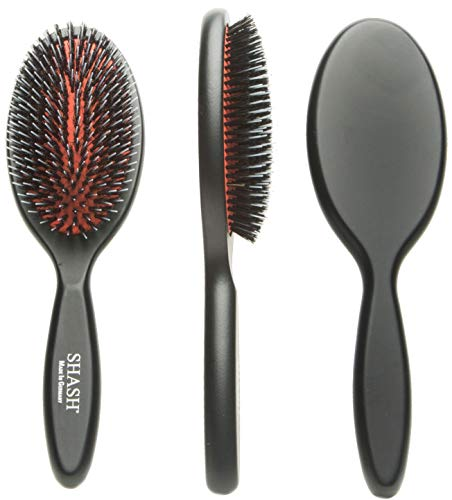Made In Germany Since - SHASH Nylon Boar Bristle Brush Suitable For Normal to Thick Hair - Gently Detangles, No Pulling or Split Ends - Softens and Improves Hair Texture, Stimulates Scalp (Medium)