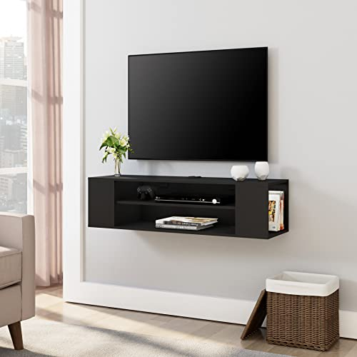 FITUEYES Floating TV Stand Shelf Wall Mounted Entertainment Center Cabinet Component Media Console Hutch with Storage Audio/Video Black Wood Grain for xbox Living Room DS210002WB