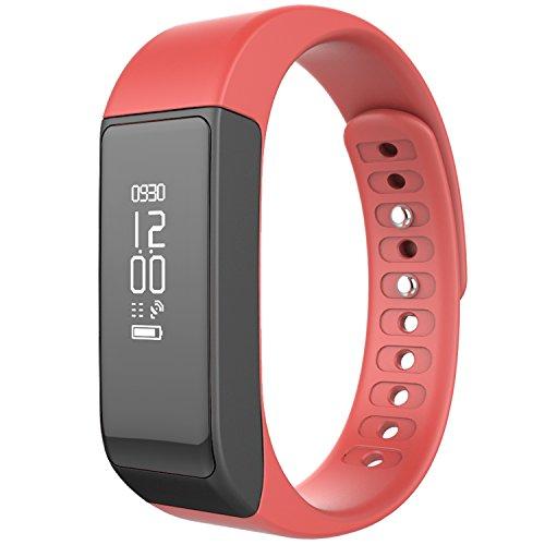 Juboury Wireless Fitness Tracker Smart Band Bluetooth Sport Armband mit Schrittzähler Schlaf Monitoring Kalorien Track für täglichen Aktivitäten und Sleep (hell rot)