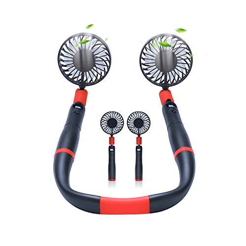 Ventilador de cuello colgante, ventilador USB portátil, ventilador de mano desmontable, ventilador pequeño ajustable de 3 velocidades, puede poner tabletas de aromaterapia, adecuado para viajes