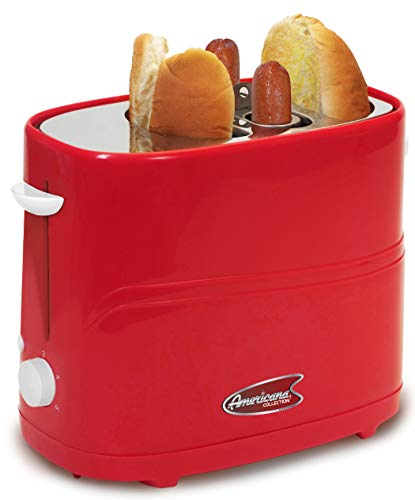 Elite Gourmet ECT-542R Retro Pop-Up Hot Dog and Bun Toaster Cooker Machine with Tongs, Heat Veggie Links Kosher Beef Turkey Sausages Bratwurst, 2 Slice