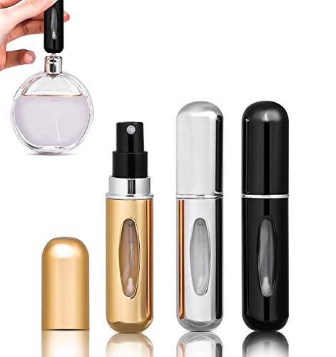 Lote de 3 pulverizadores de perfume vacío, rellenables, carcasa de aluminio, atomizador, mini perfume, vaporizador de bolsa recargable, espray perfumado, botella de perfume vacío
