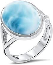 ROSE JEWELRY Women Men Jewelry 925 Sterling Silver Larimar Ring Fashion Wedding Gifts Sz 5-10 (8)
